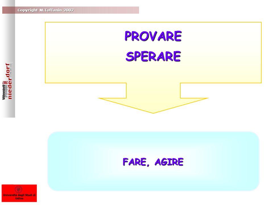 PROVARE SPERARE FARE, AGIRE