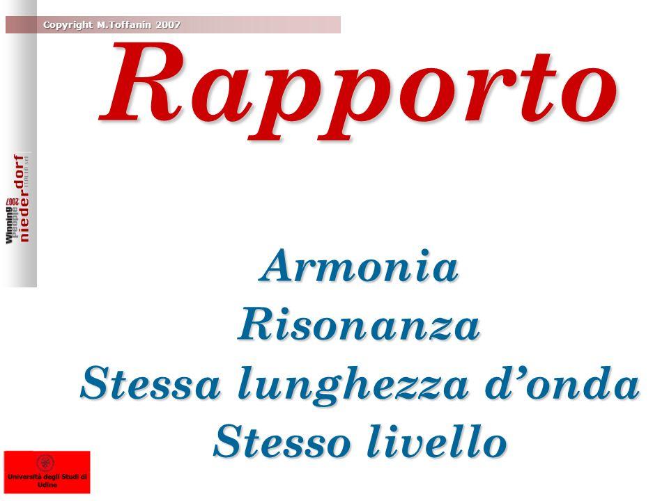 Rapporto Armonia Risonanza Stessa lunghezza d'onda Stesso livello