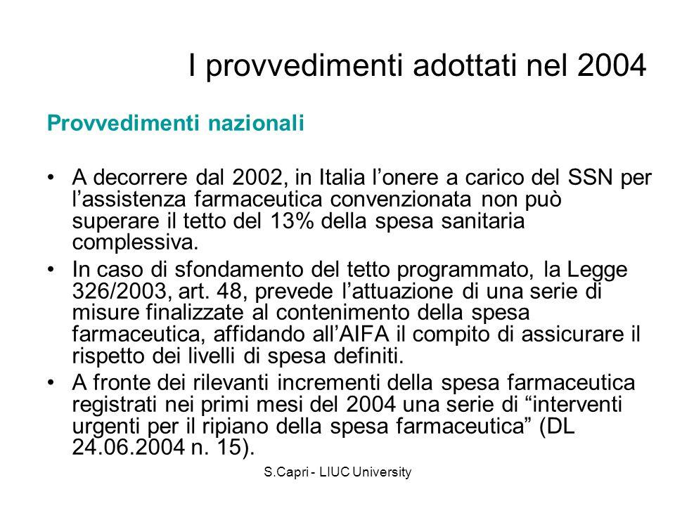I provvedimenti adottati nel 2004