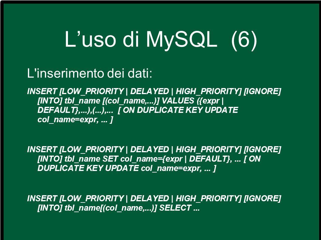 L'uso di MySQL (6) L inserimento dei dati: