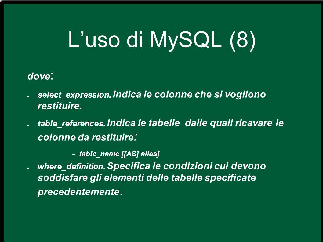 L'uso di MySQL (8) dove: select_expression. Indica le colonne che si vogliono restituire.
