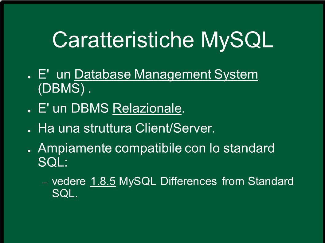 Caratteristiche MySQL