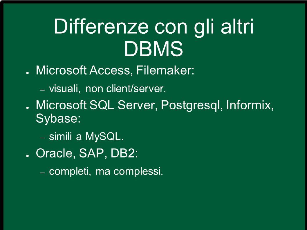 Differenze con gli altri DBMS