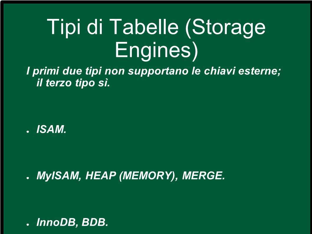 Tipi di Tabelle (Storage Engines)