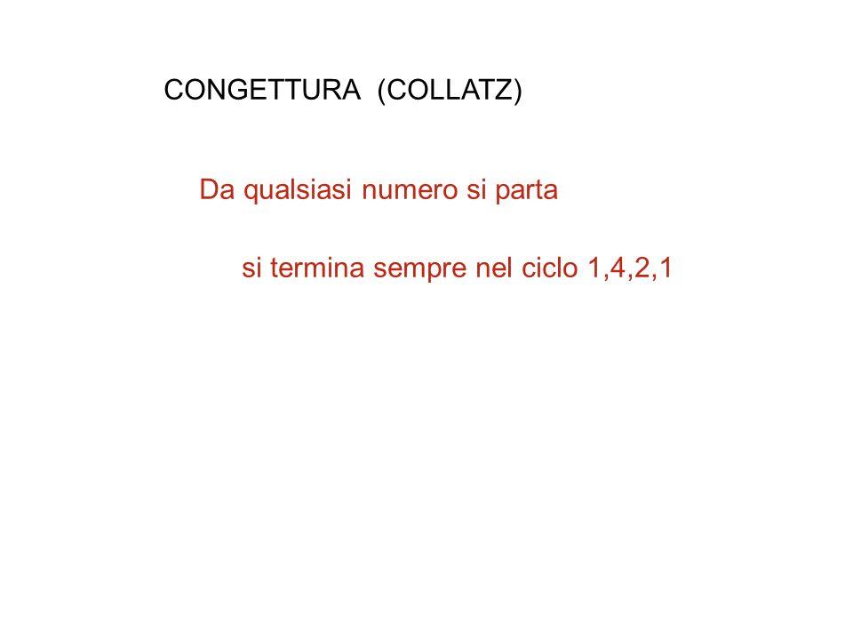 CONGETTURA (COLLATZ) Da qualsiasi numero si parta si termina sempre nel ciclo 1,4,2,1