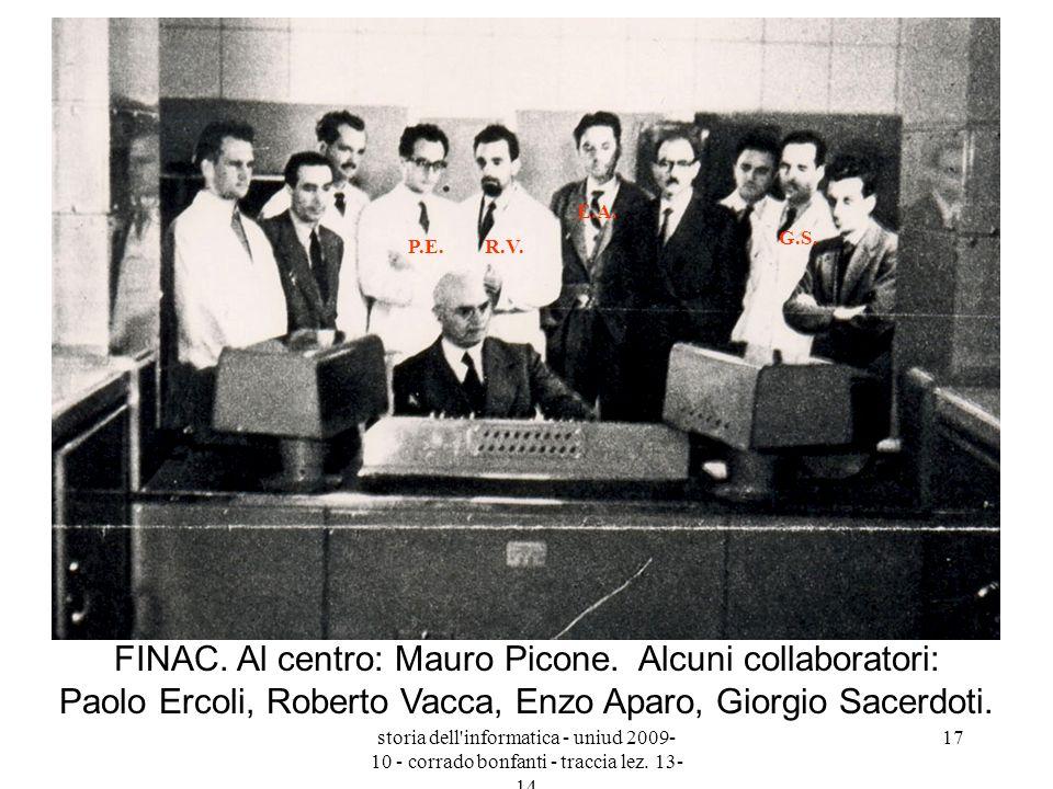 P.E.R.V. E.A. G.S. FINAC. Al centro: Mauro Picone. Alcuni collaboratori: Paolo Ercoli, Roberto Vacca, Enzo Aparo, Giorgio Sacerdoti.