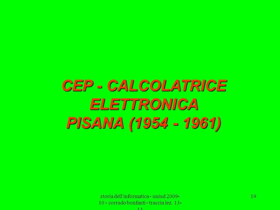 CEP - CALCOLATRICE ELETTRONICA PISANA (1954 - 1961)