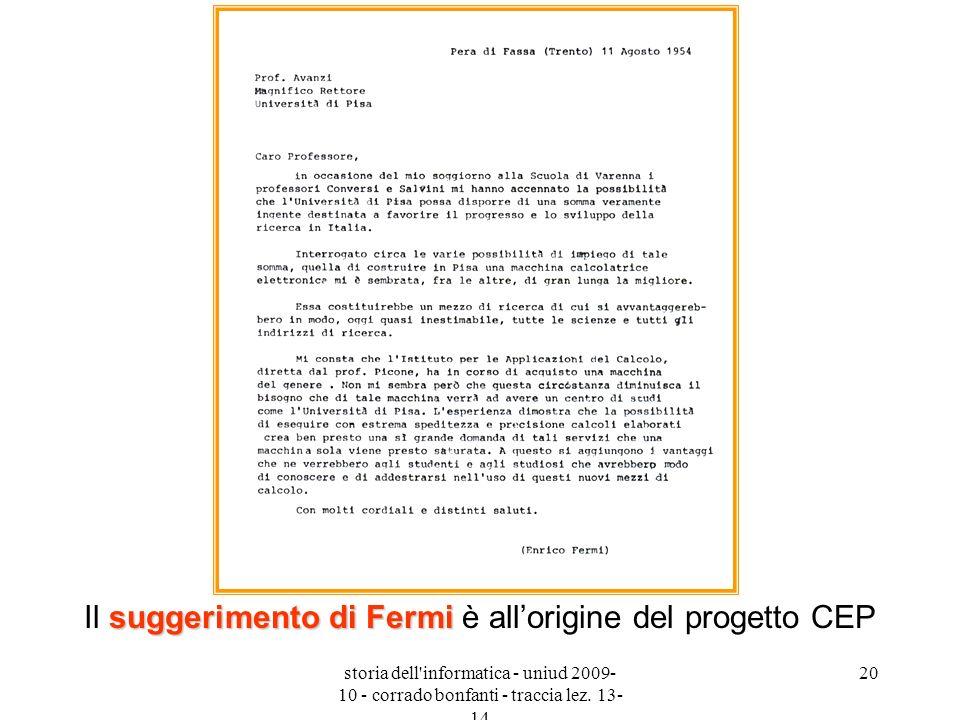 Il suggerimento di Fermi è all'origine del progetto CEP