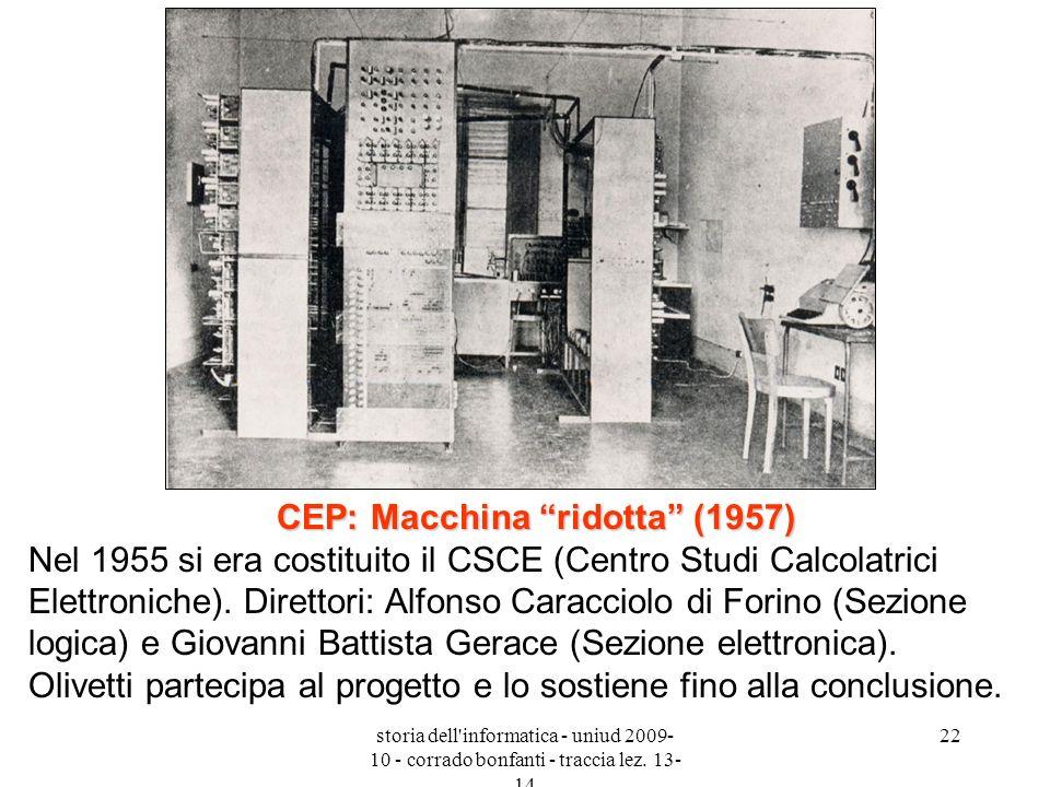 CEP: Macchina ridotta (1957) Nel 1955 si era costituito il CSCE (Centro Studi Calcolatrici Elettroniche). Direttori: Alfonso Caracciolo di Forino (Sezione logica) e Giovanni Battista Gerace (Sezione elettronica). Olivetti partecipa al progetto e lo sostiene fino alla conclusione.