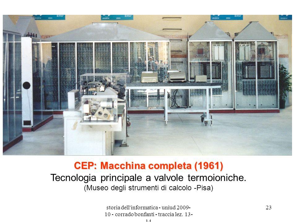 CEP: Macchina completa (1961) Tecnologia principale a valvole termoioniche. (Museo degli strumenti di calcolo -Pisa)