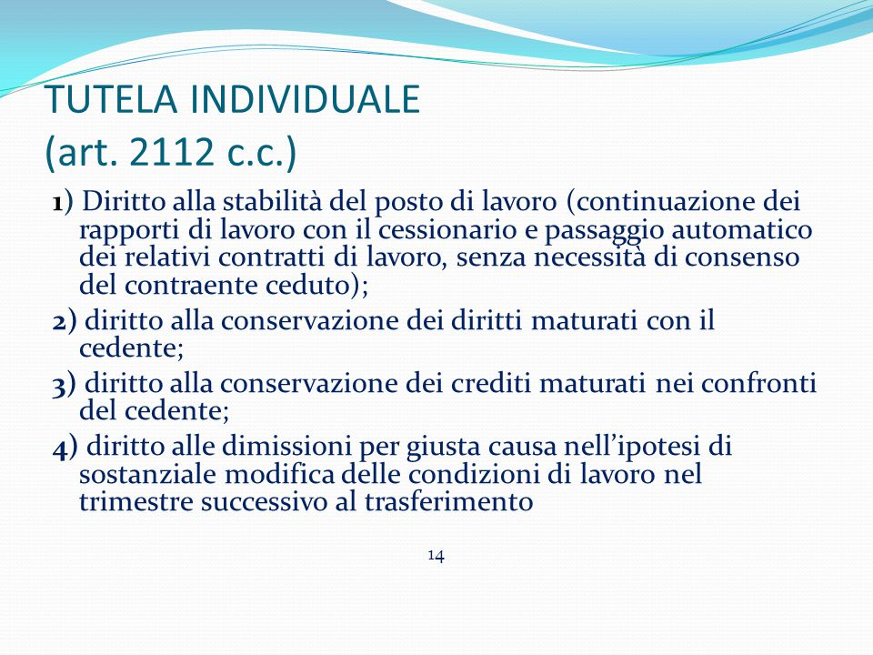 TUTELA INDIVIDUALE (art. 2112 c.c.)