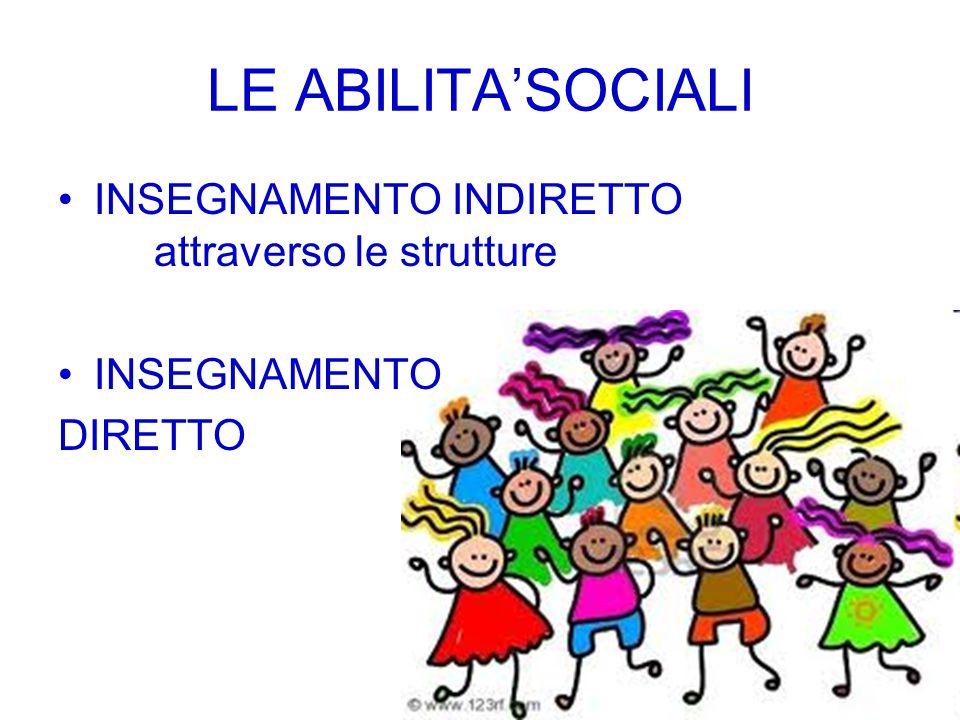 LE ABILITA'SOCIALI INSEGNAMENTO INDIRETTO attraverso le strutture