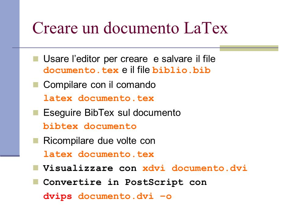 Creare un documento LaTex