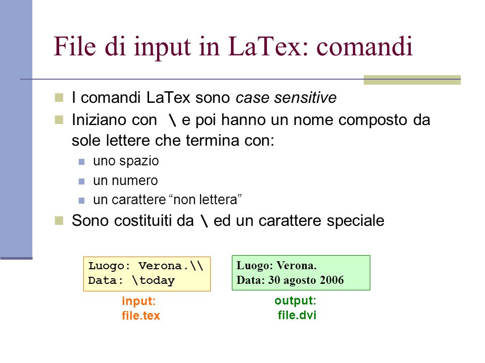 File di input in LaTex: comandi