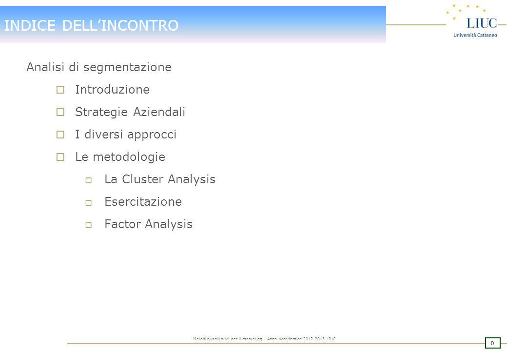 INDICE DELL'INCONTRO Analisi di segmentazione Introduzione