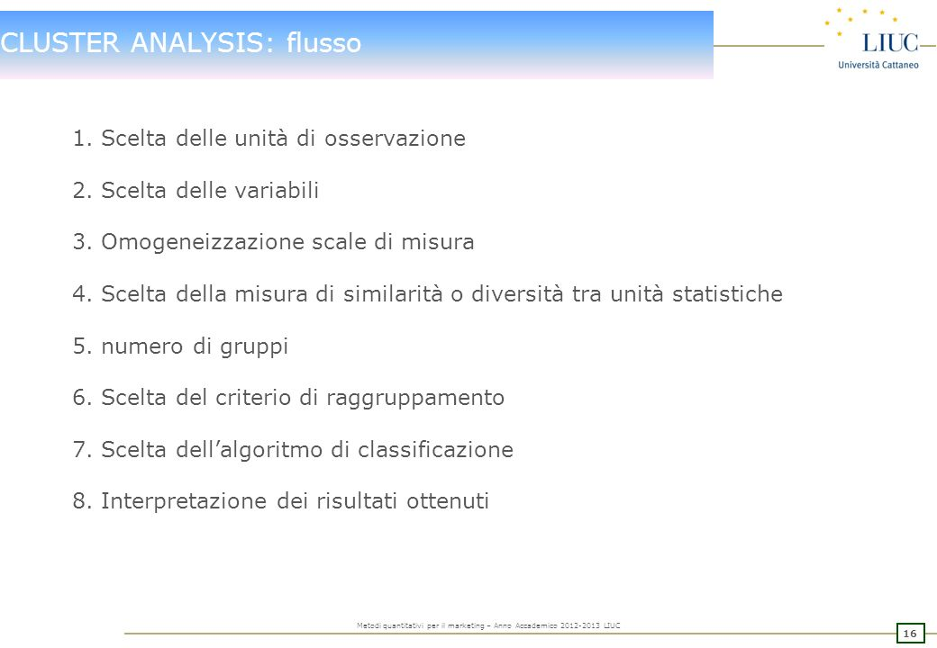 CLUSTER ANALYSIS: flusso