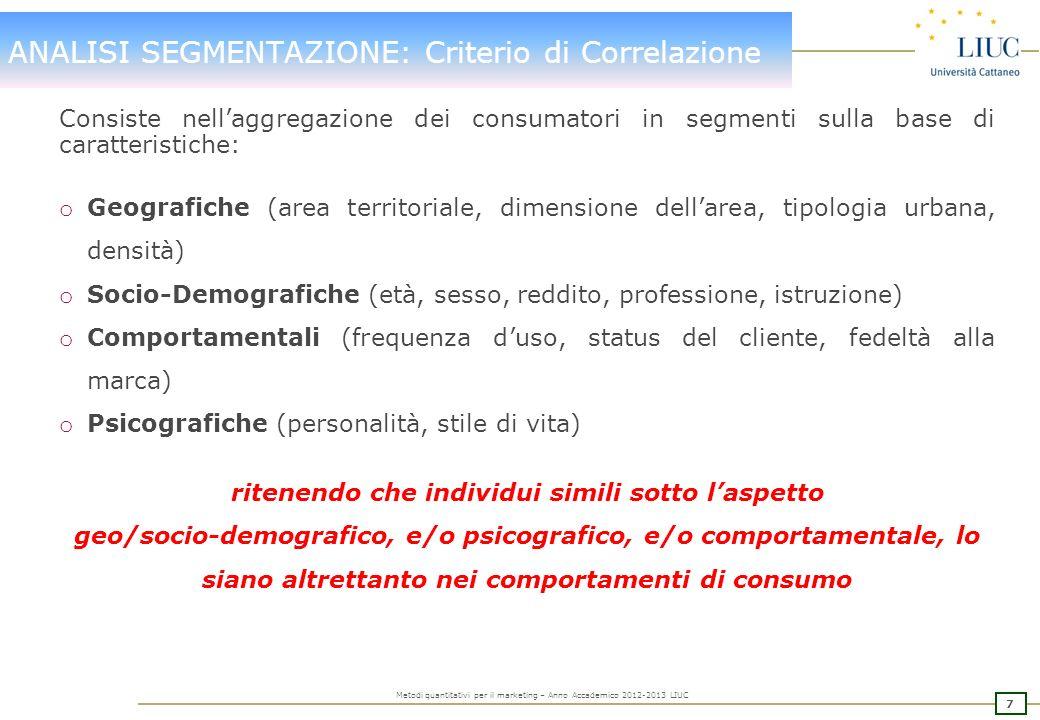 ANALISI SEGMENTAZIONE: Criterio di Correlazione