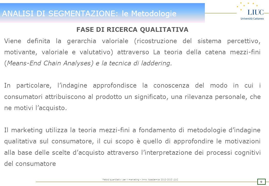 ANALISI DI SEGMENTAZIONE: le Metodologie
