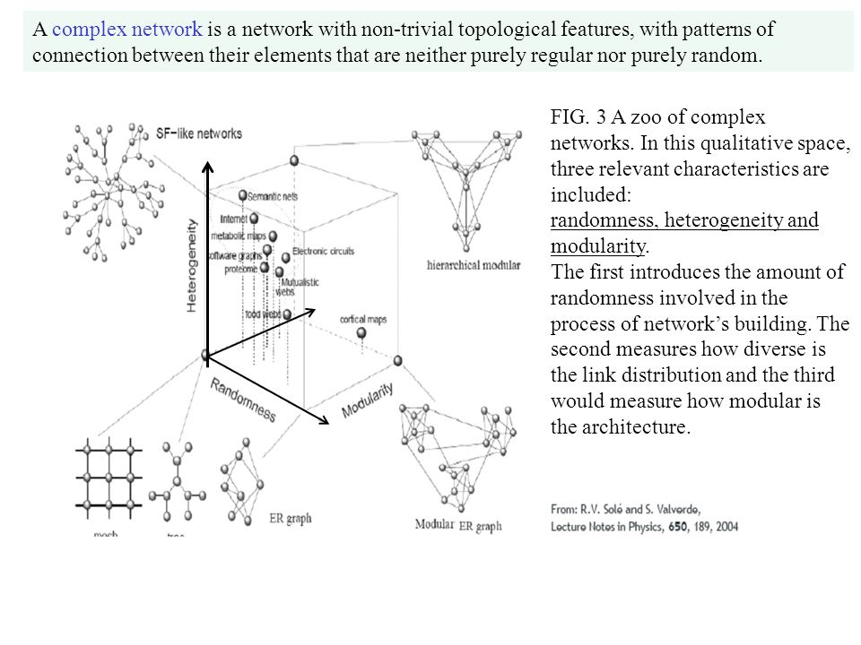 A complex network is a network with non-trivial topological features, with patterns of connection between their elements that are neither purely regular nor purely random.