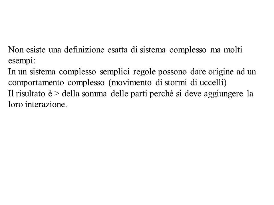 Non esiste una definizione esatta di sistema complesso ma molti esempi: