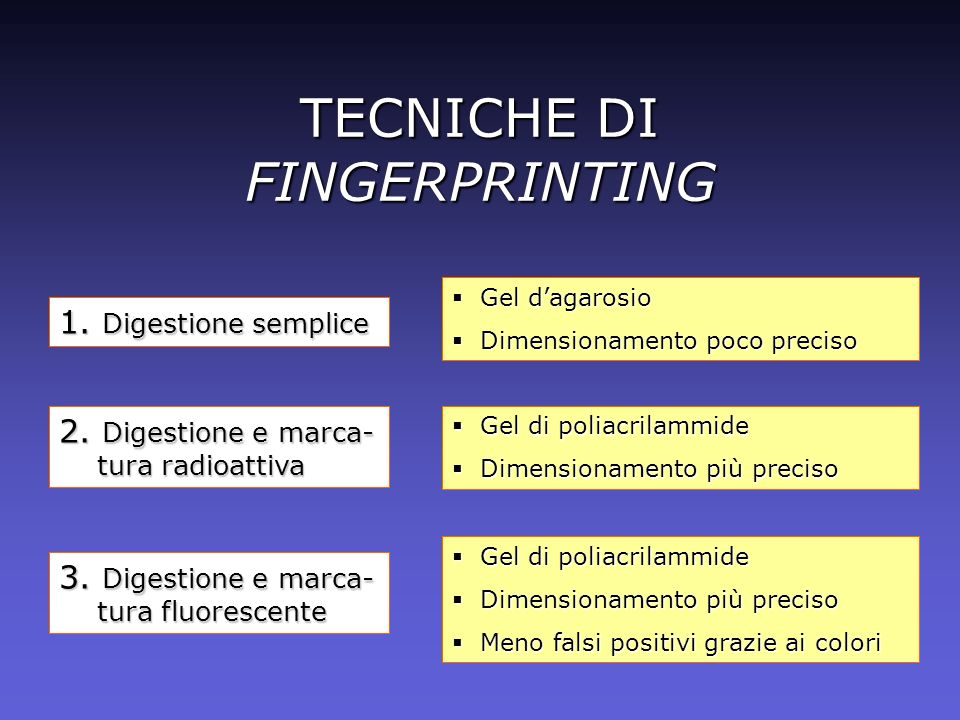 TECNICHE DI FINGERPRINTING