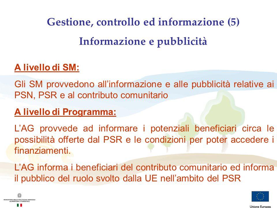 Gestione, controllo ed informazione (5) Informazione e pubblicità