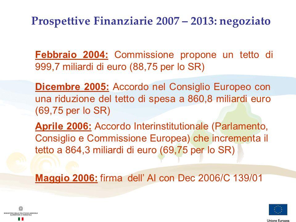 Prospettive Finanziarie 2007 – 2013: negoziato