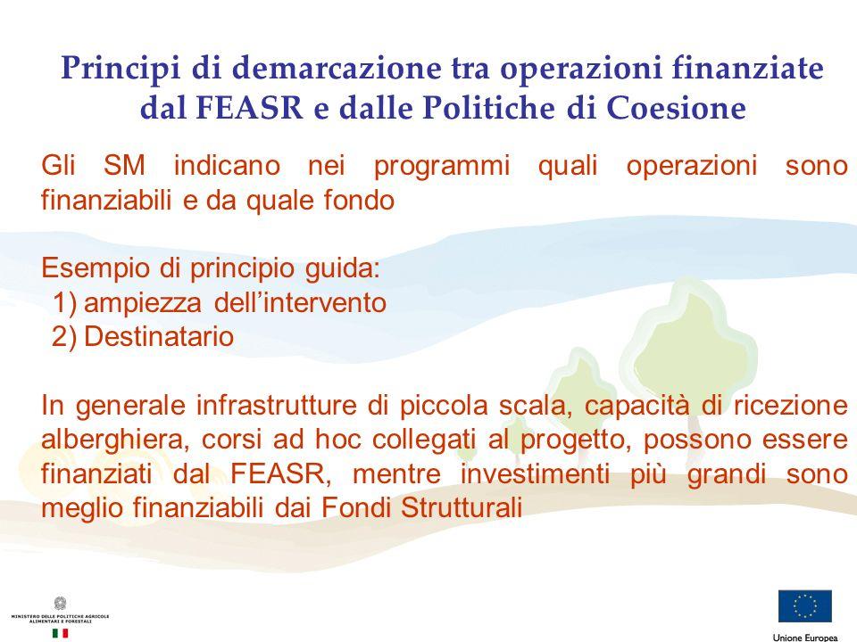 Principi di demarcazione tra operazioni finanziate dal FEASR e dalle Politiche di Coesione