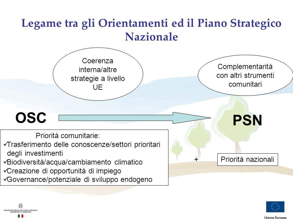 Legame tra gli Orientamenti ed il Piano Strategico Nazionale