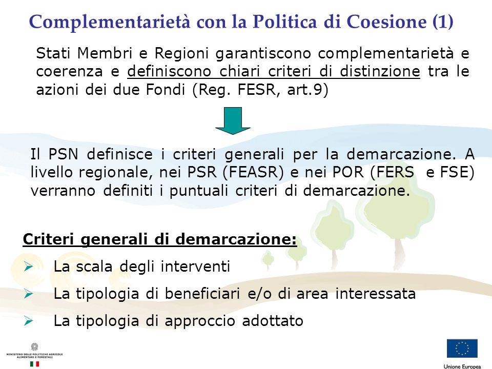 Complementarietà con la Politica di Coesione (1)
