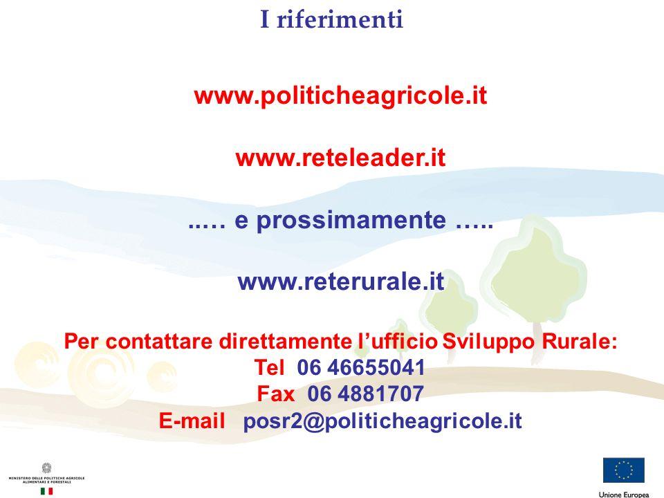 I riferimenti www.politicheagricole.it www.reteleader.it