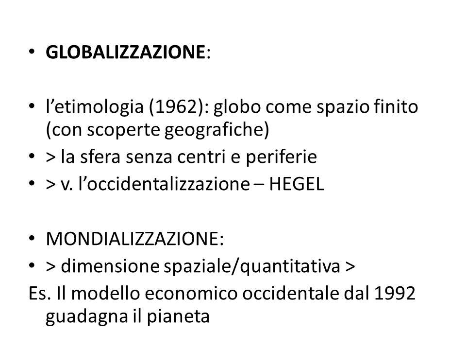 GLOBALIZZAZIONE:l'etimologia (1962): globo come spazio finito (con scoperte geografiche) > la sfera senza centri e periferie.