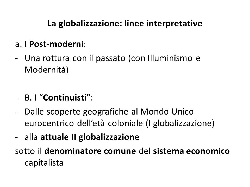 La globalizzazione: linee interpretative