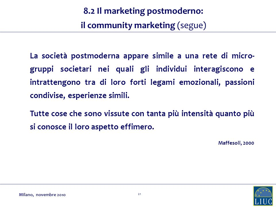 8.2 Il marketing postmoderno: