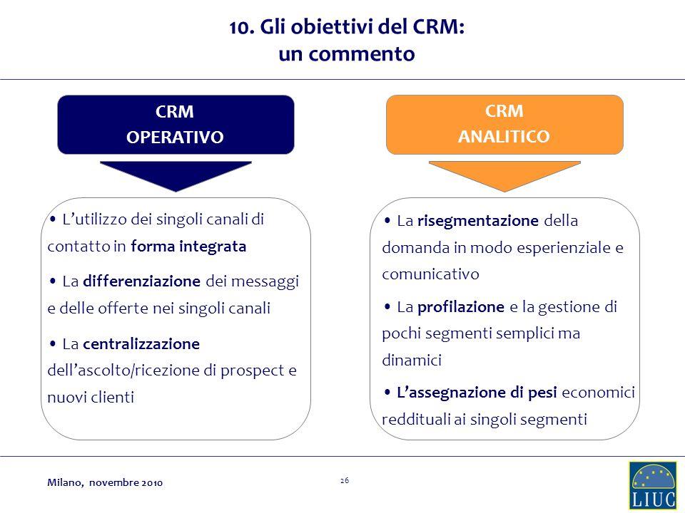 10. Gli obiettivi del CRM: un commento
