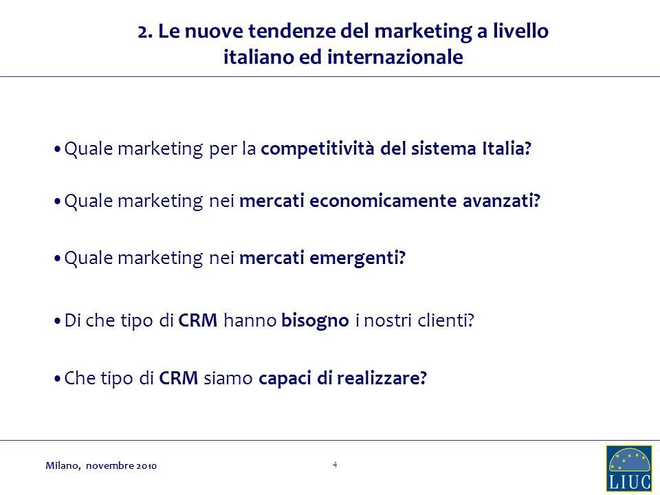 2. Le nuove tendenze del marketing a livello italiano ed internazionale
