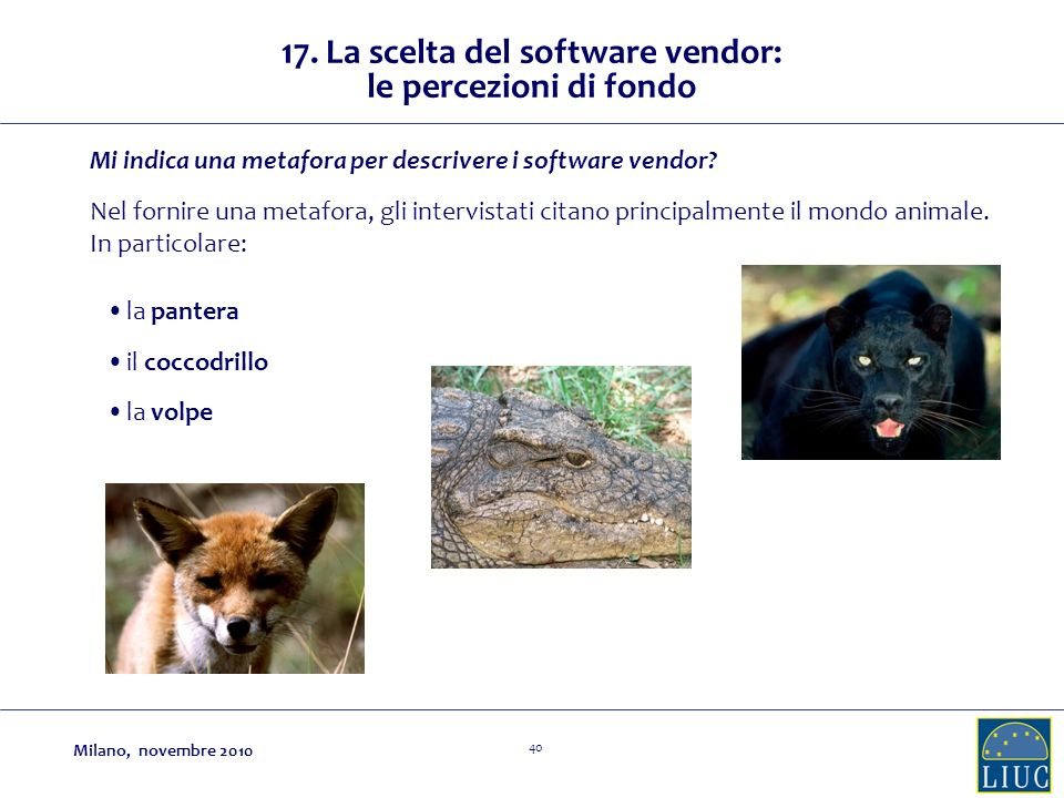 17. La scelta del software vendor: le percezioni di fondo