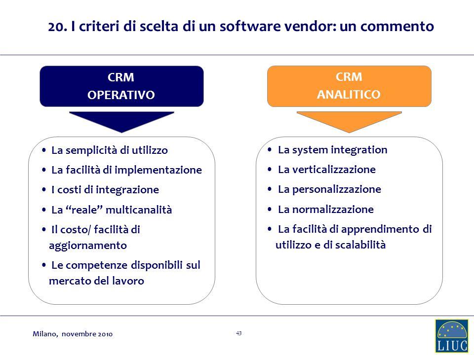20. I criteri di scelta di un software vendor: un commento