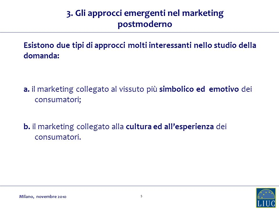 3. Gli approcci emergenti nel marketing postmoderno