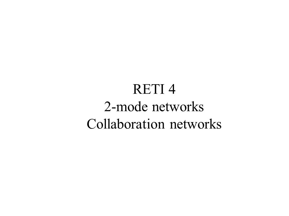 Collaboration networks