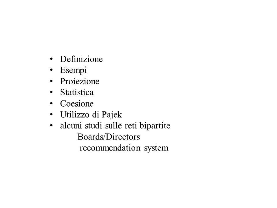 Definizione Esempi. Proiezione. Statistica. Coesione. Utilizzo di Pajek. alcuni studi sulle reti bipartite.