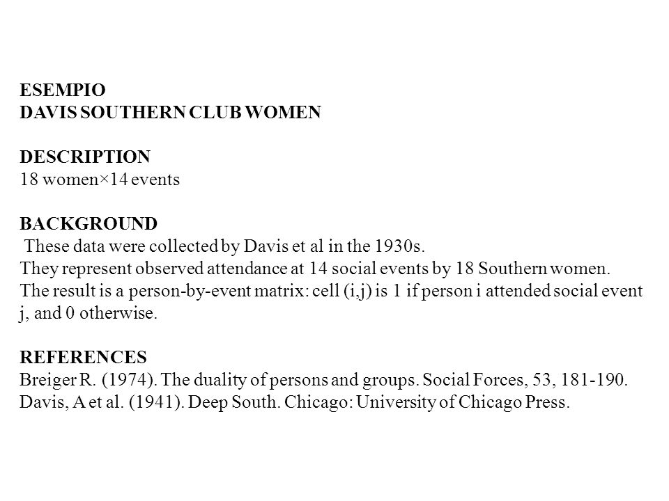 ESEMPIO DAVIS SOUTHERN CLUB WOMEN. DESCRIPTION. 18 women×14 events. BACKGROUND. These data were collected by Davis et al in the 1930s.