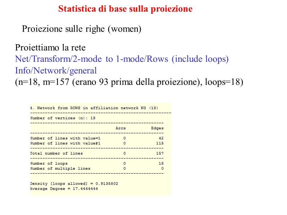 Statistica di base sulla proiezione