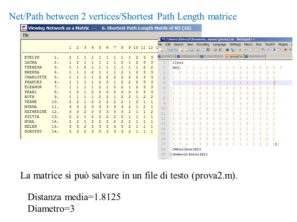 Net/Path between 2 vertices/Shortest Path Length matrice