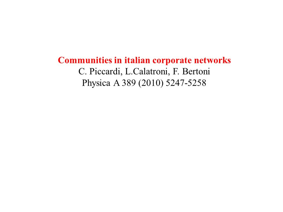 Communities in italian corporate networks