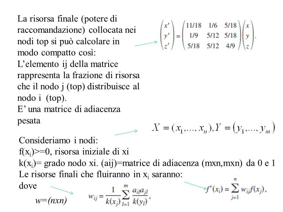 La risorsa finale (potere di raccomandazione) collocata nei nodi top si può calcolare in modo compatto così: