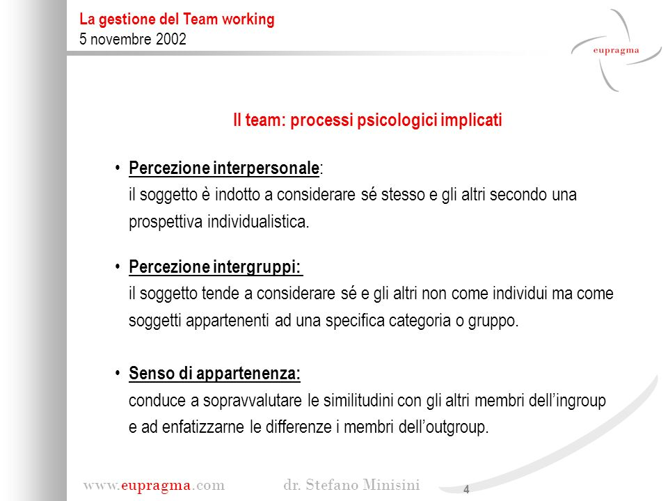 Il team: processi psicologici implicati