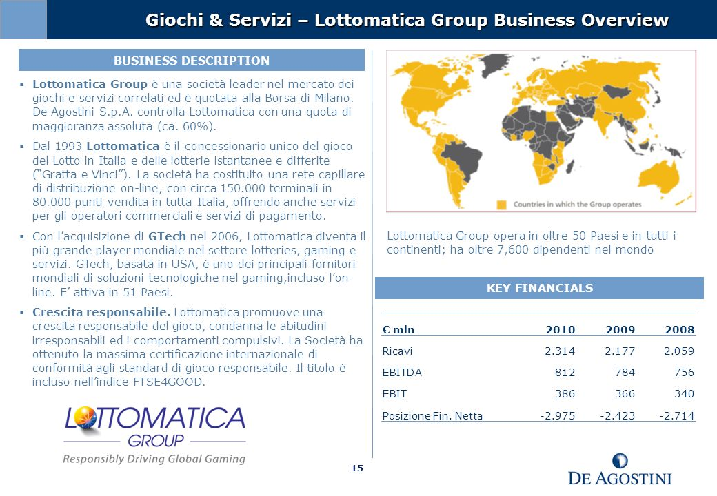 Giochi & Servizi – Lottomatica Group Business Overview