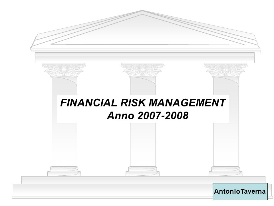 FINANCIAL RISK MANAGEMENT Anno 2007-2008