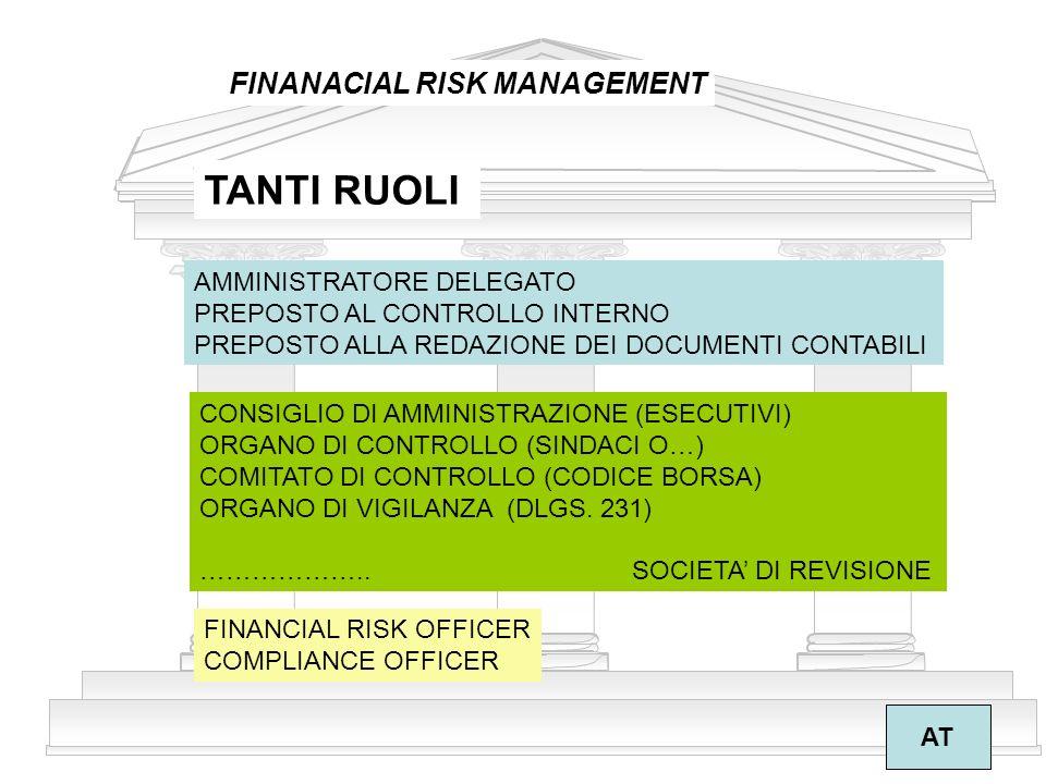 TANTI RUOLI FINANACIAL RISK MANAGEMENT AMMINISTRATORE DELEGATO